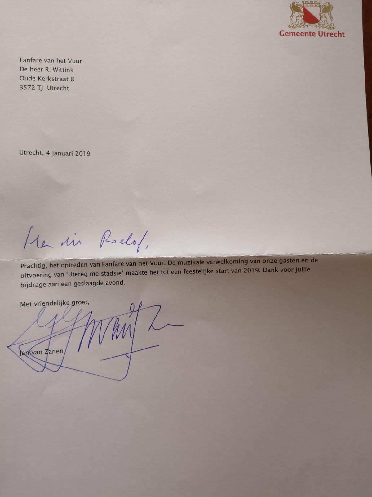 Bedankbrief van de burgemeester van Zanen